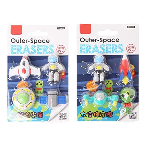 Tandou 4-teiliges Set Creative Untertasse, fliegende Untertasse, Alien, Weltraum, Gummi, Radiergummi