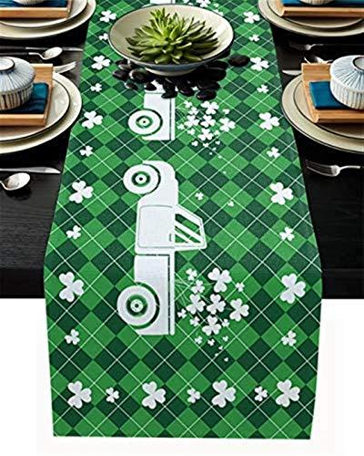 Chemin de table en toile de jute Chemin de table de la Saint-Patrick Camion Clver vert Plaid Chemin de table à manger pour banquet fête d'anniversaire maison cuisine dîner Table décor,13x70 pouces