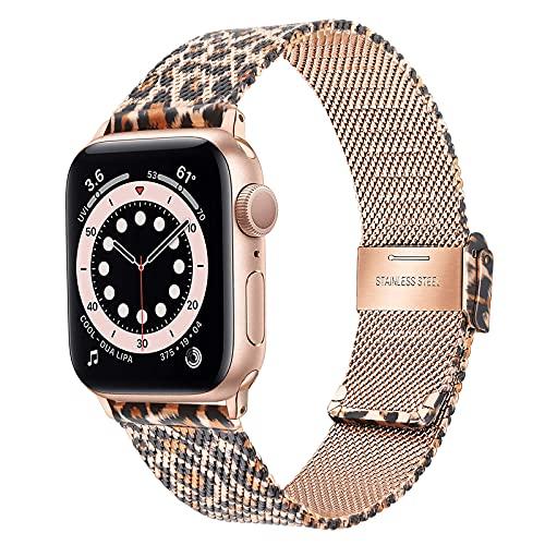 TRUMiRR Sostituzione per Apple Watch Series SE/Series 6 38mm 40mm Cinturino,Cinturino per Orologio in Acciaio Inossidabile Intrecciato a Rete per iWatch Apple Watch SE Series 6 5 4 3 2 1 Uomini Donne