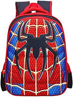 GulfDealz Spiderman 3D Cartoon Lightweight, Waterproof, Easy To Hang, School & Picnic 15 Inch, Backpack, Polyester - Red&Blue