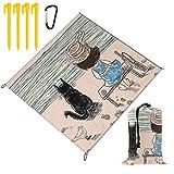 NOLYXICI Manta de Picnic 145x150cm,Niña con sombrero de Panamá sentado en un banco con esponjoso gato junto al mar,Mantas de playa al aire libre Impermeable Impermeable Estera para senderismo,acampada