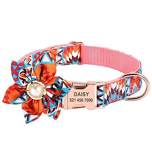 Collar de perro para cachorro, collar de perro floral con cuerda para grabar collares de flores, collar para niñas y perros femeninos con hebilla de metal dorado en D para bodas, fiestas