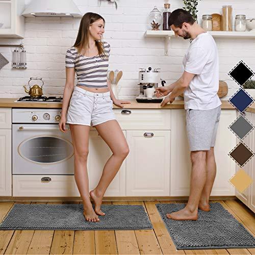 "Pretigo Kitchen Rug Sets - Rugs for Kitchen Floor Washable,Non-Slip Soft Kitchen Mat Set,Chenille Microfiber Material, Super Absorbent 17""×48"" + 17""×24"" (Grey) Maryland"