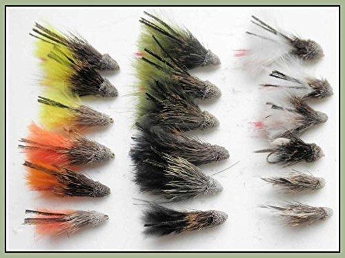 Troutflies Muddler Minnow, 18 Stück, 6Farben, unterschiedliche Größen 8/10/12, Fliegenfischen