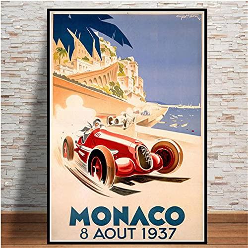Aawerzhonda Art Poster World Grand Prix Retro Monaco 64th Super Motor Car Poster e Stampe Wall Art Picture Living Room 60x90cm