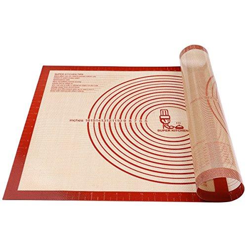 Antihafte Rutschfeste Backunterlage/Backmatte Silikon Groß 71x51cm Ausrollmatte Teigmatte Silikonmatte Backfolie Arbeitsmatte mit Messung für Fondant Gebäck Pizza Matte,BPA Frei,von Super Kitchen(Rot)