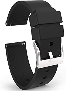 Wellfit Watch Strap, Soft Silicone Quick Release Watch Band, Stainless Steel Buckle, Choose Color & Width,18mm, 20mm, 22mm, Silky Smooth Rubber Watch Bands