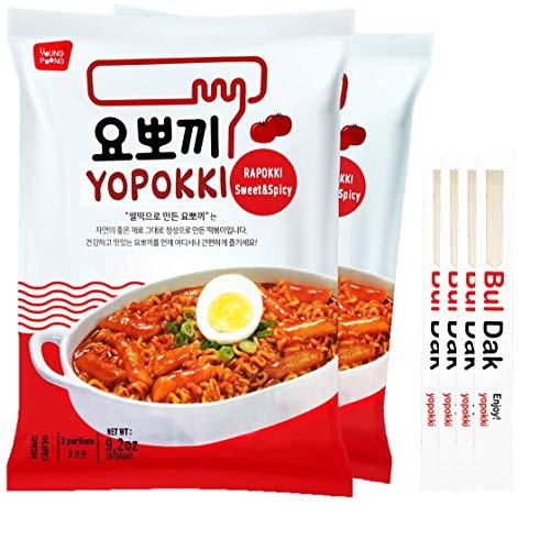 Yopokki Sweet Spicy Rabokki With 4 Yopokki Chopsticks (2 pack) Ramen Noddle rice cakes (spicy, 2)