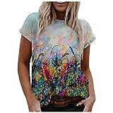 VCAOKF Camiseta de manga corta para mujer, diseño de paisaje y flores, cuello redondo, suelto, manga corta, informal, estilo informal, estampado de flores, tallas S-2XL Negro XXL