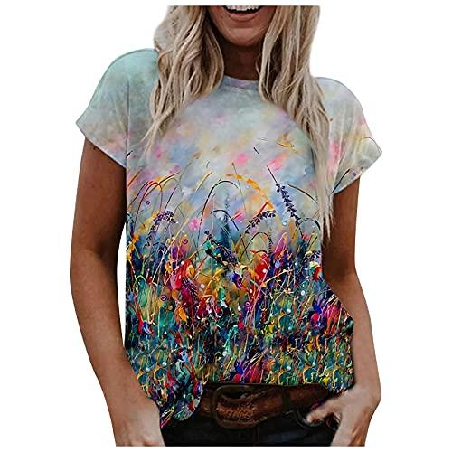 Camiseta para mujer de talla grande, con estampado de flores, cuello redondo, moda informal, diente de león, multicolor, rosa, naranja, azul, lila, amarillo, gris, verde, blanco, negro, S-2XL Negro S