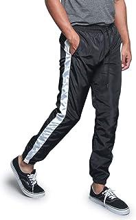 Men's Premium Striped Windbreaker Ankle Zip Contrast Outer Side Stripe Drawstring Premium Nylon Track Pants