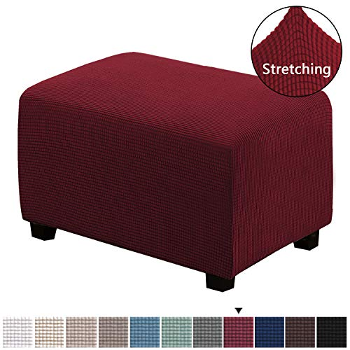 H.VERSAILTEX Stretch Ottoman Slipcovers Footstool Footrest Covers Removable Footstool Covers 1 Piece Form Fit Storage Ottoman Protect Covers for Living Room, Ottoman Large Size, Burgundy