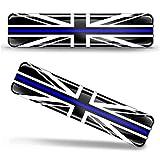 Biomar Labs® 2 x Aufkleber 3D Gel Silikon Stickers Grossbritannien England UK GB Union Jack Thin Blue Line Police Flag Dünne Blaue Linie Polizei Flagge Fahne Autoaufkleber F 64