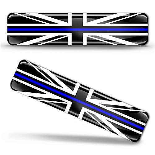 Biomar Labs 2 x 3D Silicone Adesivi Resinati Bandiera Nazionale del Regno Unito UK Union Jack Thin Blue Line Police Support per Auto Moto Finestrìno Scooter Bici Motociclo Tuning F 64
