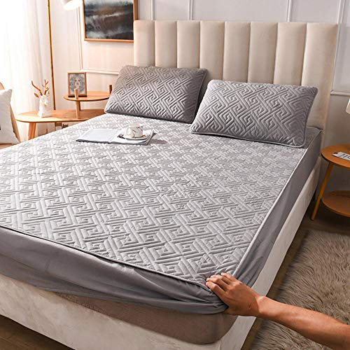 YFGY Fitted Sheet Stretches Deep,Bed Sheet With Elastic Home Bed Linen, Thicken Bedsheet For Deep 28cm Mattress Cover Grey 2 single XL 135 * 200cm