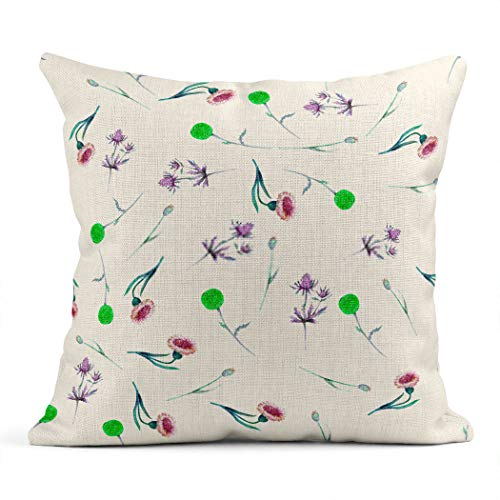 Xincow Set of 2 Throw Pillow Covers Halloween Lleaf Flowers and Thistle Leaves a White Flower Watercolor Home Durable Decorative Linen Pillowcases Square Cushion Covers for Sofa 16x16 Inches