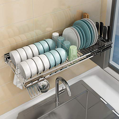 COLTURE Over The Sink Dish Drying Rack, Hanging Stainless Steel Dish Drainer Dryer Rack with Knife Utensil Holder Hooks Space Saver for Kitchen Supplies Storage Organizer Shelf Counter Top, Silver