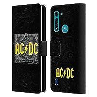 Head Case Designs オフィシャル ライセンス商品 AC/DC ACDC ブラック・アイス ソング・タイトル Motorola Moto G8 Power Lite 専用レザーブックウォレット カバーケース
