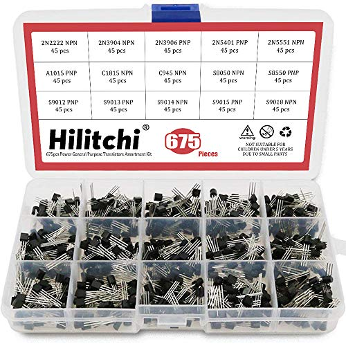 Hilitchi 675-Piece 15 Values 2N2222-S9018 NPN PNP Power General Purpose Transistors Assortment Kit