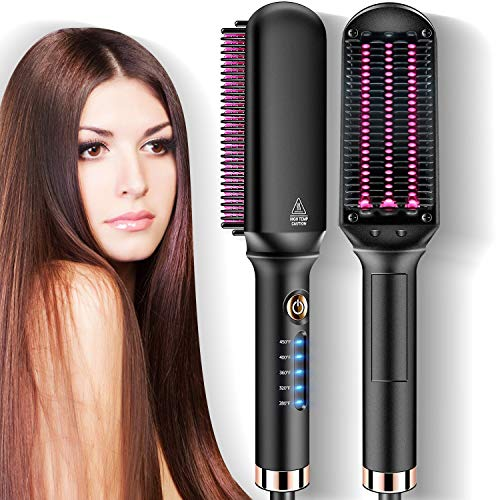 Hot Comb Hair Straightener Brush, JOMARTO Hair Straightening Iron with Built-in Comb, Fast Heating & 5 Level Temperature Adjustable, Perfect for Professional Salon at Home