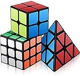 Vdealen Speed Cube Set, Cubos de Velocidad de 2x2 3x3 Pirámide Speed Cube, Juego Suave & Giro Fácil, Cubo de Pegatinas