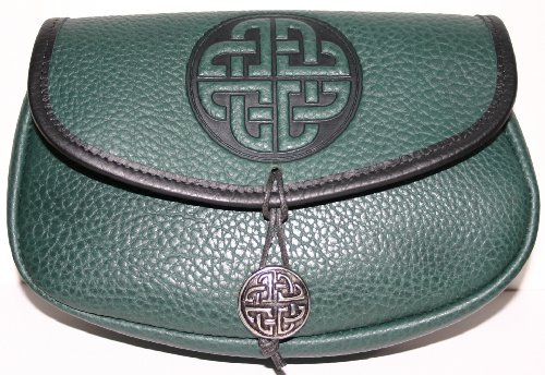 Celtic Circle Leather Belt Pouch (Wide)