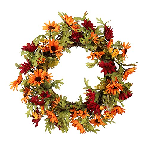 FXforer Door Wreath,15.7Inch Artificial Daisy Flower Wreath,Hanging Fall Maple Leaf Wreath,Farmhouse Grapevine Twig Floral Wreath with Green Leaves for Front Door Wall Window Home Decor