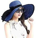 DRESHOW Chapeau de Plage Floppy pour Femmes Grandes Chapeaux de Chapeau de Paille Brim Retrousser Packable UPF 50+