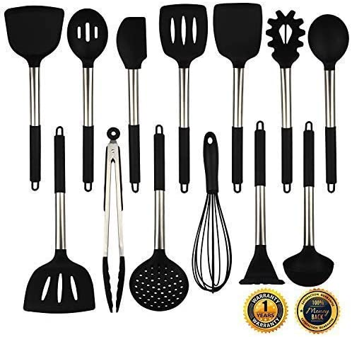 Silicone Cooking Utensils Set, Heat Resistant and Non Stick Kitchen Utensil Set with Stainless Steel Handle