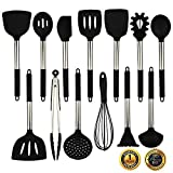 Silicone Cooking Utensils Set, Heat Resistant and Non Stick Kitchen Utensil Set with Stainless Steel Handle (Black)
