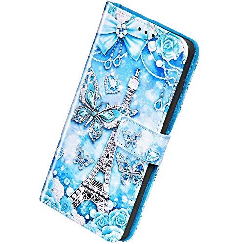 Herbests Kompatibel mit iPhone 12 Mini Leder Hülle Schutzhülle Handyhüllen Bunt Motiv Muster Flip Brieftasche Wallet Tasche Klapphülle Etui Case Magnetverschluss,Schmetterling Rose