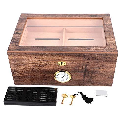 Scatola da umidificatore per sigari da tavolo, scatola per umidificatore per sigari in vetro di grandi dimensioni con coperchio in vetro, scatola da porta per sigari da viaggio in legno di cedro