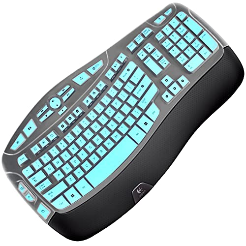 Silicone Keyboard Cover Skin Compatible with K350 MK550 MK570 Keyboard Protector Ultra Thin Case for Logitech MK550 Keyboard Skin Mint Green