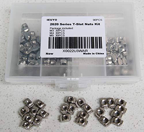 IEUYO 2020 Series T Nuts, M3 M4 M5 T Slot Nut Hammer Head Fastener Nut for Aluminum Profile Accessories, 90 Pcs/3Sizes