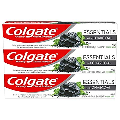 Colgate Essentials Charcoal Teeth Whitening Toothpaste, Natural Mint Flavor, Vegan - 4.6 Ounce (3 Pack)