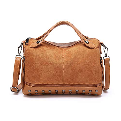 Mn&Sue Rivet Studded Medium Top Handle Barrel Satchel Handbag Women Purse (Brown)