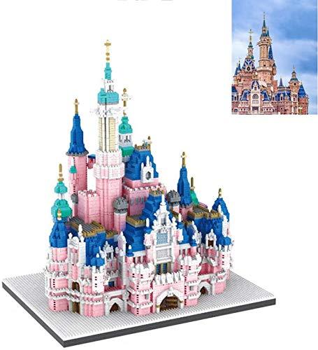 Juego De Bloques De Construcción Modelo 3d De Castillo De Cuento De Dibujos Animados Grande, 6300 Piezas Diy Mini Bloques De Diamantes Juguetes De Construcción Para Niñas, Regalos De Cumpleaños, Rosa