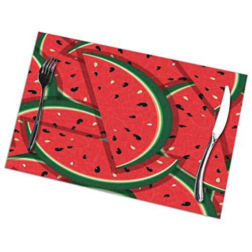 Delerain Platzsets für Esstisch, Wassermelone, 6 Stück, für Snacks, Getränke, Wärmedämmung, schmutzabweisend, rutschfest, waschbar, für Esszimmer, Küche, Restaurant, Tisch, 30,5 x 45,7 cm