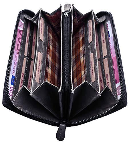 Hill Burry Geldbeutel Damen Leder   Frauen Portemonnaie mit Reißverschluss   Große Geldbörse mit vielen Fächern - Vintage Portmonee Herren mit RFID Schutz - XXL - Grau
