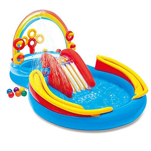 DLIBIG Piscina Parque acuático castillo hinchable arco iris Diapositivas remar piscinas jardines niños juguetes trampolín mat al aire libre rígido rebote inflatables bomba actividad juego equipo