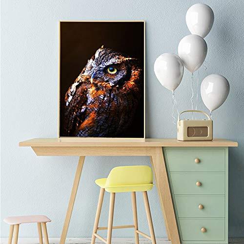 Douwert Pintura de Arte Moderno búho escandinavo Cartel de Animal Lienzo impresión decoración de Sala de Estar Cuadros de Pared sin Marco 40x50cm
