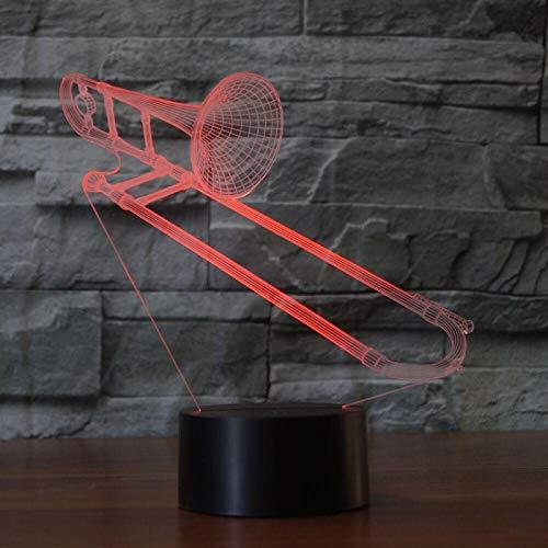 WisdomMi nachtlicht illusion lampe, 3D 16 Farben - goldener Uhren - schwarzer Bluetooth Lautsprecher - Kreatives Posaunenmusikinstrument - Lampe Geschenke Nachtlicht Spielzeug Farbwechsel mit Fernbedi