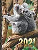 2021 Planner: Mom and Baby Koala Bears in Tree Photo / Daily Weekly Monthly / Dated 8.5x11 Life Organizer Notebook / 12 Month Calendar - Jan to Dec / ... Cover / Cute Christmas or New Years Gift