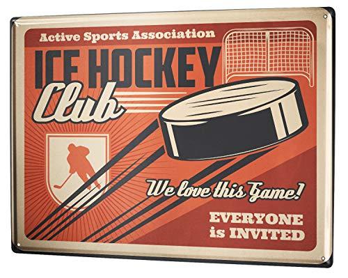 LEotiE SINCE 2004 Blechschild Retro Eishockey Puck