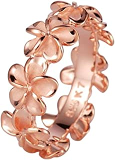 Sterling Silver 925 Rose Gold Plated Plumeria Lei Ring