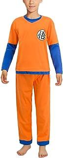 Dragon Ball Goku Pijamas para niños Conjunto Niños Niñas Camiseta de Manga Larga y Pantalones Largos Pijamas con Temas de Anime 2 Piezas Set Dragon Ball Cosplay Disfraz 115cm-145cm