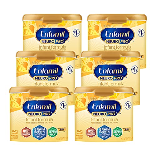 Enfamil NeuroPro Baby Formula, Triple Prebiotic Immune Blend with 2'FL HMO & Expert Recommended Omega-3 DHA, Inspired by Breast Milk, Non-GMO, Reusable Tub, 20.7 Oz, Pack of 6 (Packaging May Vary)