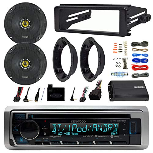 """Kenwood Stereo Bluetooth CD Receiver Bundle Combo with Dash Kit, 2X Kicker 6.5"""" Speakers W/Adapter Brackets, Handle Bar Control Interface, 4-Channel Weather-Resistant Amplifier W/Install Kit"""