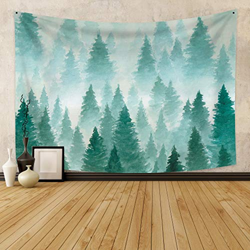 CSFOTO 59.1x51.2 inches Green Forest Tapestry Wall Hanging Painted with Watercolor Hand Drawn Landscape of Foggy Forest Spring Distant Dim Mysterious Landscape Bedroom Living Room Decoration