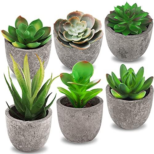 Frasheng 6Stücke Künstliche Sukkulenten Pflanzen mit Töpfen,Kunstpflanzen außenbereich,Künstliche Pflanzen,Kunstpflanzen Topfpflanze,Mini Kunststoff Fälschung Grünes Pflanzen,für Tischdeko,Haus,Balkon